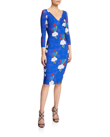 Chiara Boni La Petite Robe Naktis Floral-Print V-Neck 3/4-Sleeve Bodycon Dress