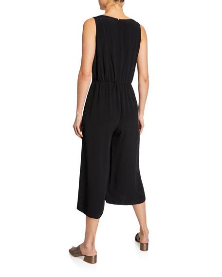 Eileen Fisher Scoop-Neck Sleeveless Skirt-Wrap Crop Jumpsuit