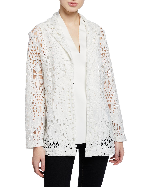 84fd3b9ffda Misook Plus Size Long-Sleeve Open Lace Blazer