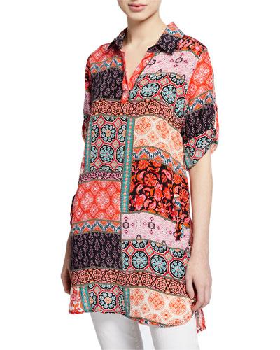 Peyton Patchwork-Printed 3/4 Tab-Sleeve Silk Tunic