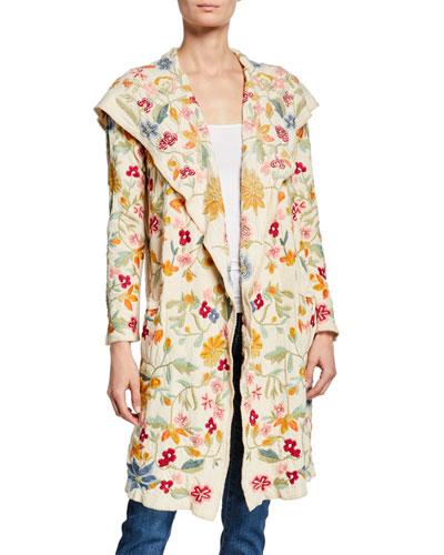 Floral-Embroidered Open-Front Hooded Duster