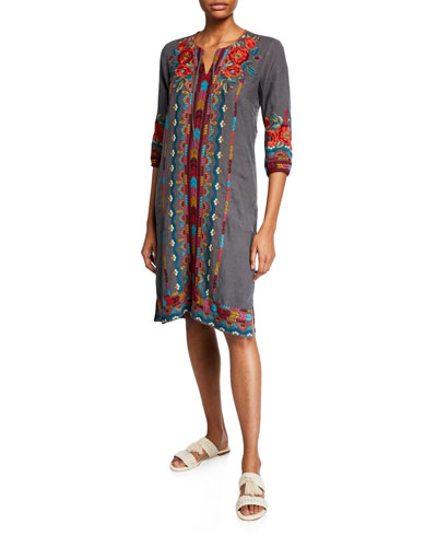 Petite Ornelia Weekend Linen Embroidered Shift Dress