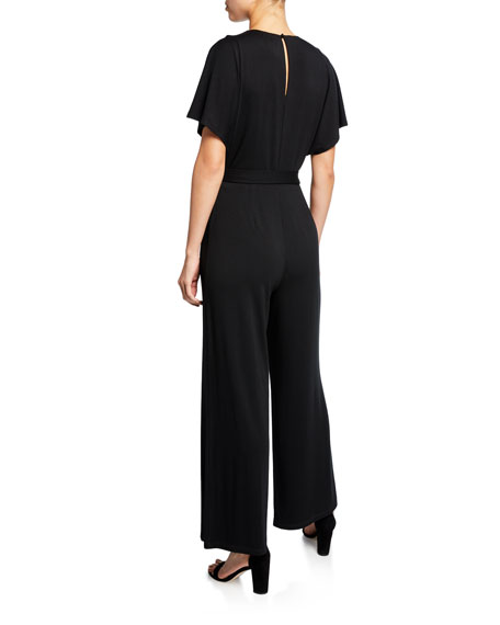 NIC+ZOE Plus Size Ease V-Neck Short-Sleeve Wide-Leg Jumpsuit