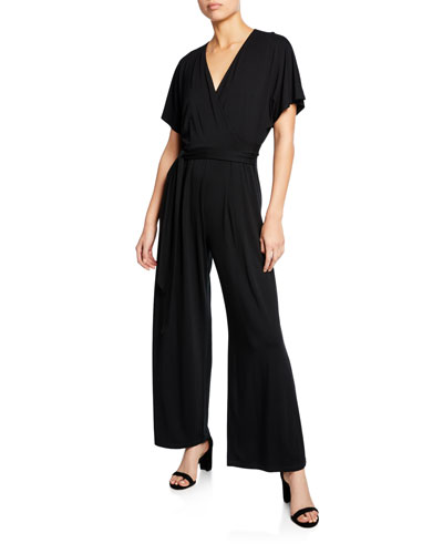 Plus Size Ease V-Neck Short-Sleeve Wide-Leg Jumpsuit