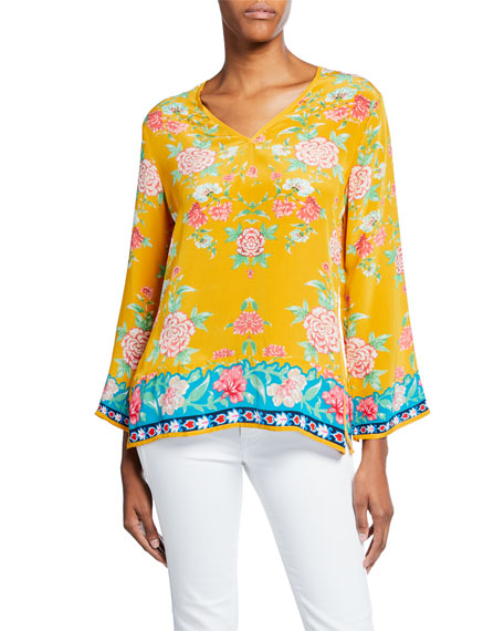 Tolani Plus Size Simone Saffron-Print V-Neck Long-Sleeve Silk Tunic