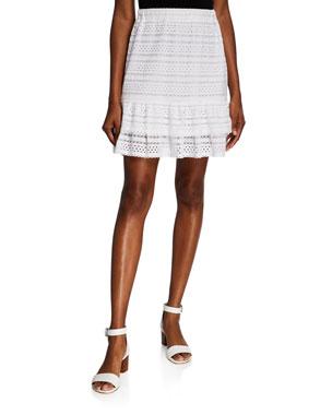 MICHAEL Michael Kors Eyelet Lace Mini Ruffle Skirt