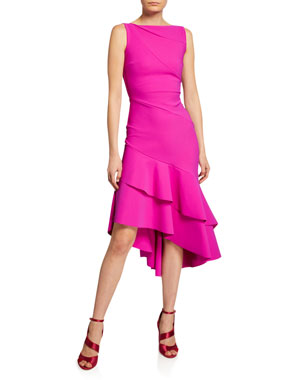 f4fc438a55 Chiara Boni La Petite Robe Kennah Sleeveless Asymmetric Flounce-Hem Dress