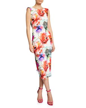 d9a2d495c5bbb Chiara Boni La Petite Robe Madereh Floral-Print Sleeveless Midi Dress w/  Flounce Detail