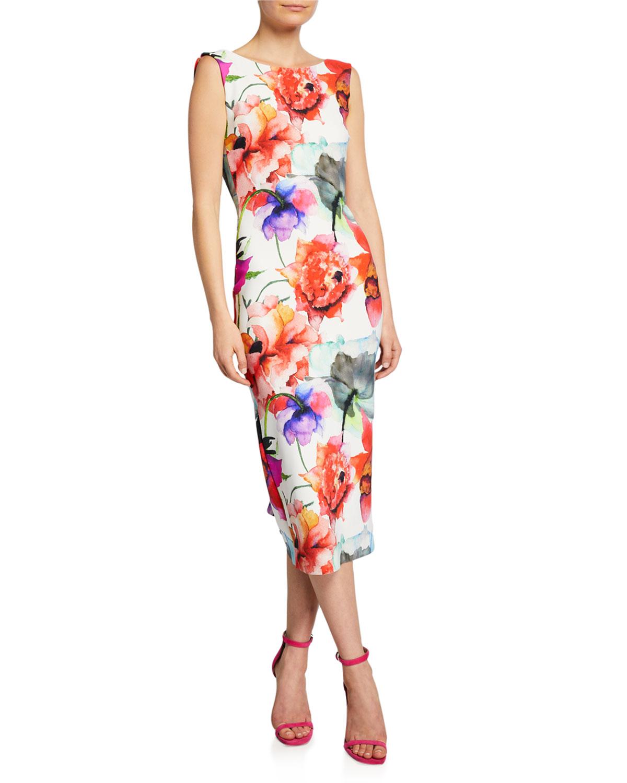 ac784508 Chiara Boni La Petite Robe Madereh Floral-Print Sleeveless Midi Dress w/  Flounce Detail