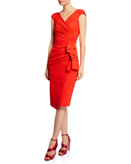 Chiara Boni La Petite Robe Dresses ZELLY V-NECK BONDED CAP-SLEEVE SHIRRED DRESS