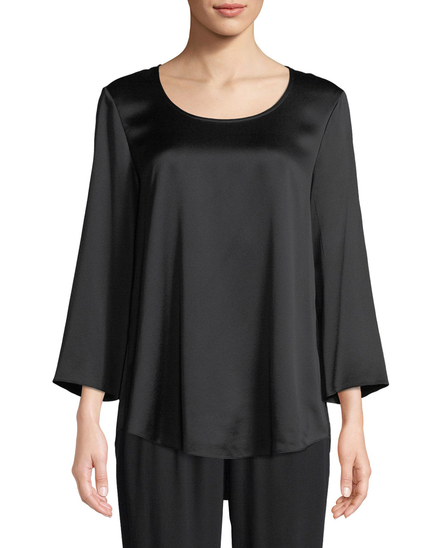 9551f3d2a83793 Eileen Fisher Petite 3/4-Sleeve Silk Charmeuse Blouse | Neiman Marcus