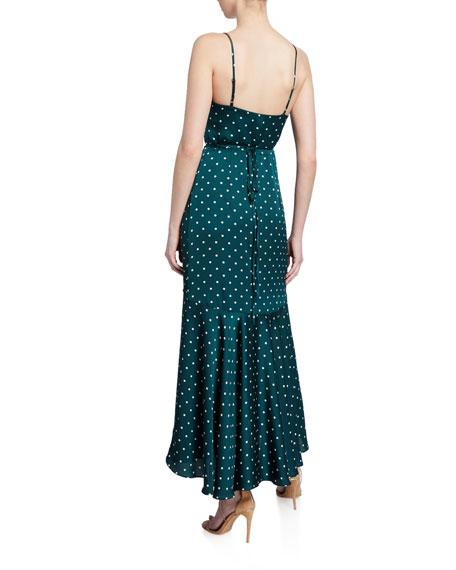 Shona Joy Polka-Dot Spaghetti-Strap Bias Wrap Dress