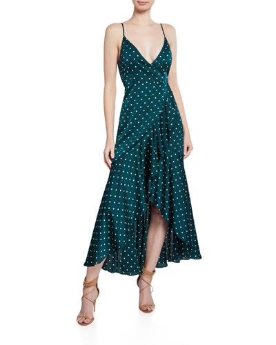 Polka-Dot Spaghetti-Strap Bias Wrap Dress