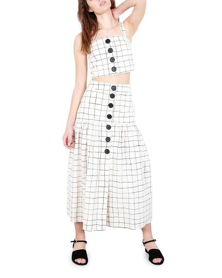 Whit Charlie Grid-Print Long Skirt