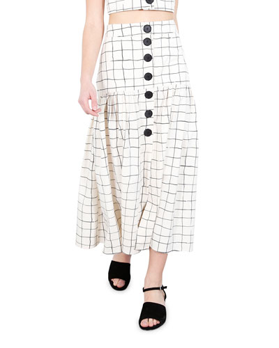 Charlie Grid-Print Long Skirt