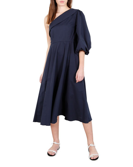 Whit Paige One-Shoulder Cotton Midi Dress