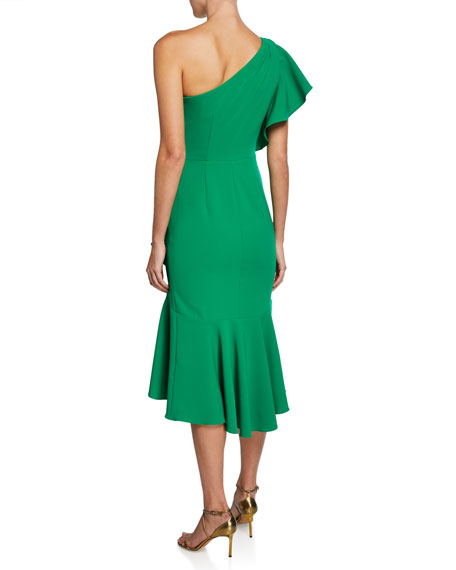 Marchesa Notte One-Shoulder Ruffle-Sleeve Crepe Dress w/ Beaded Embroidery