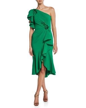 0dcd4ac45b5 Marchesa Notte One-Shoulder Ruffle-Sleeve Crepe Dress w  Beaded Embroidery