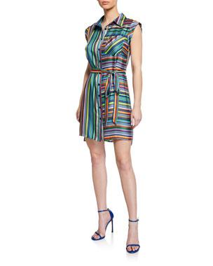 72a94cb6f4c Milly Rainbow Stripes Sleeveless Twill Shirtdress