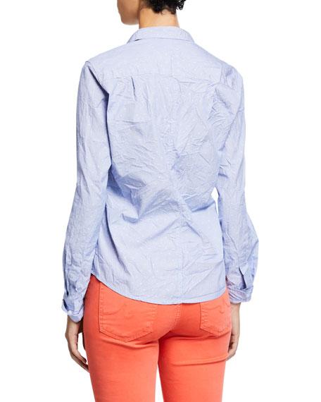 Frank & Eileen Dot-Print Button-Down Long-Sleeve Cotton Poplin Shirt