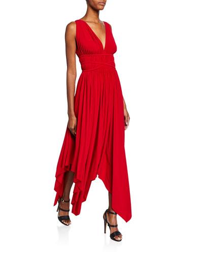 Goddess V-Neck Sleeveless Empire-Waist Handkerchief Dress