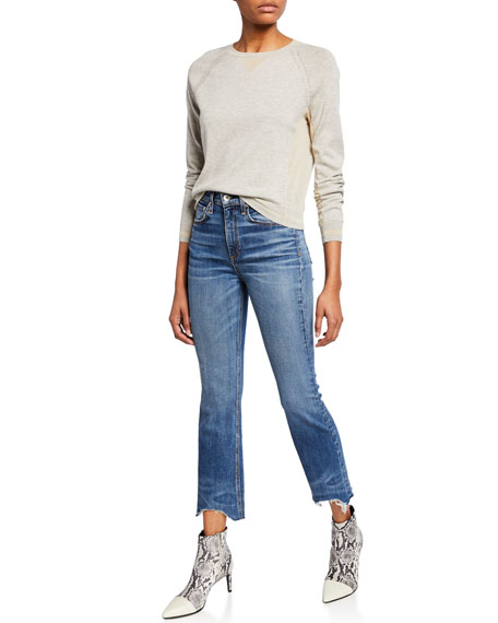 Image 3 of 3: Nina High-Rise Ankle Flare Jeans w/ Chewed Hem