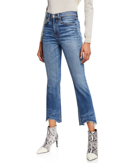 Image 1 of 3: Nina High-Rise Ankle Flare Jeans w/ Chewed Hem