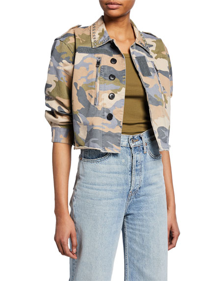 Zadig & Voltaire Cropped Camo-Print Studded Military Jacket