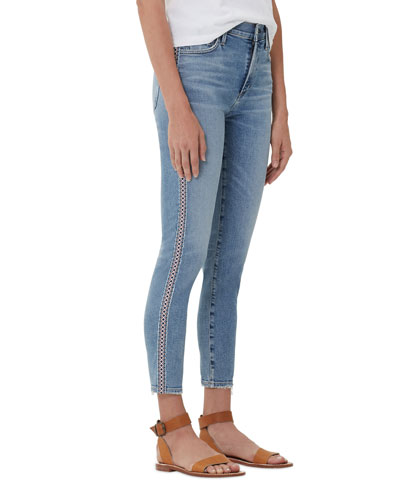 Rocket Crop High-Rise Chico Stripe Skinny Jeans