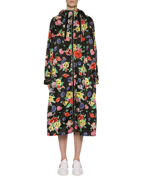 Moncler Long Heart & Flower Raincoat