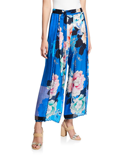 Tura Wrapped Floral-Print Pants