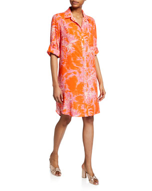 a5a3703d92b6 Finley Alex Printed 3/4-Sleeve Shirtdress