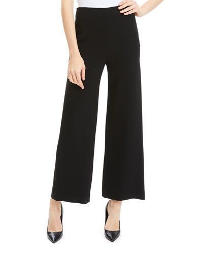 Crepe Wide-Leg Ankle Cropped Pants