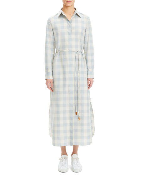 Theory Plaid Waist-Tie Button Down Ankle Shirtdress