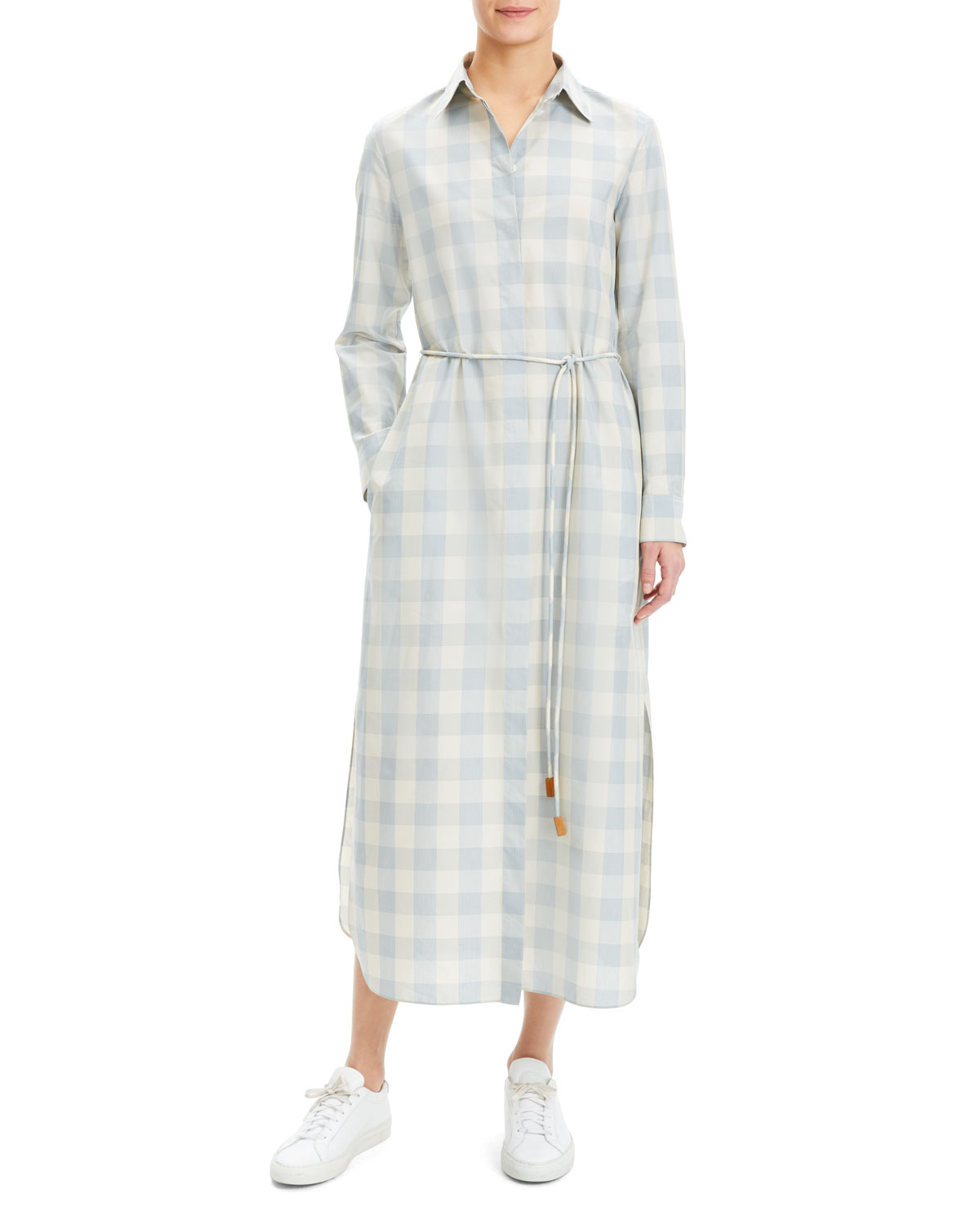 de9d496d6e Theory Plaid Waist-Tie Button Down Ankle Shirtdress | Neiman Marcus