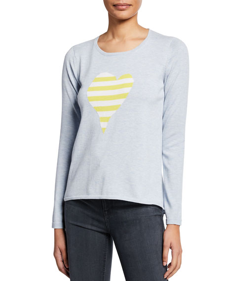 Lisa Todd Petite Fool For Love Striped Heart Long-Sleeve Cotton Sweater