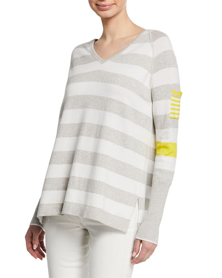Lisa Todd Petite Beach Stripe V-Neck Raglan-Sleeve Sweater