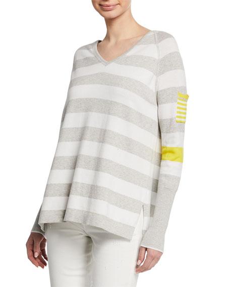 Lisa Todd Beach Stripe V-Neck Raglan-Sleeve Sweater