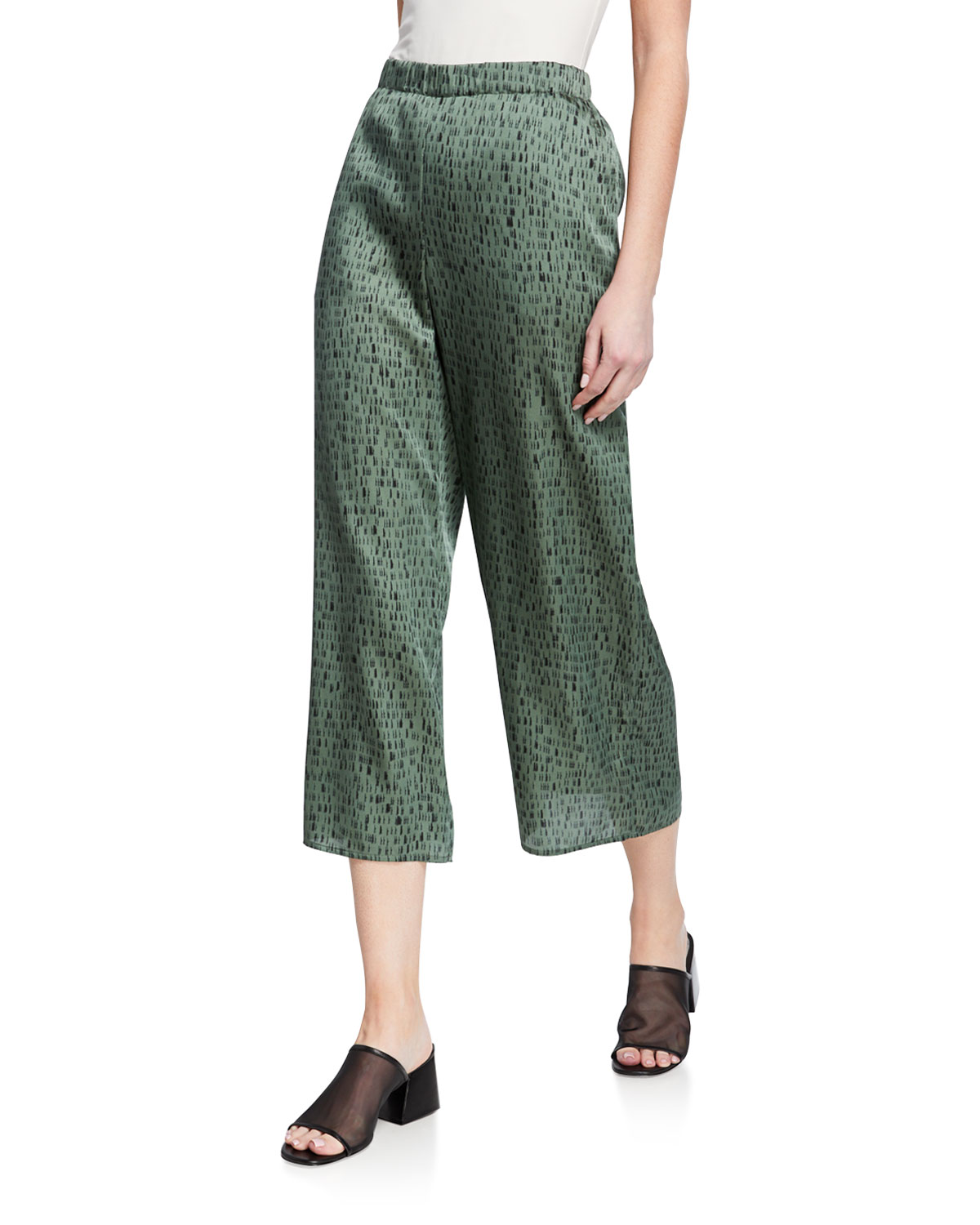 Eileen Fisher Dash-Print Wide-Leg Crop Pants