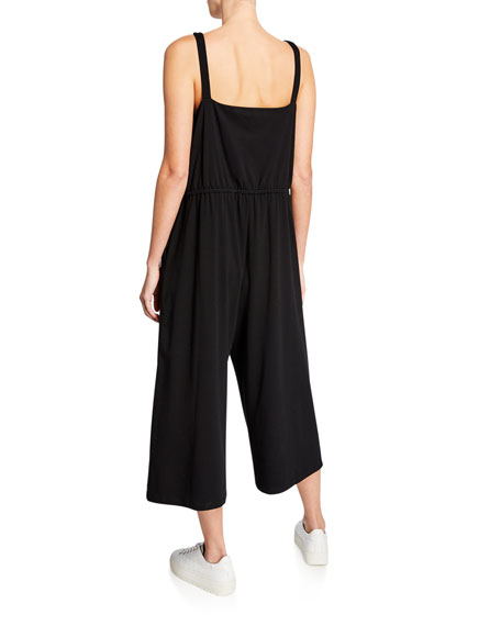 Eileen Fisher Wide-Leg Cotton Stretch Jersey Jumpsuit
