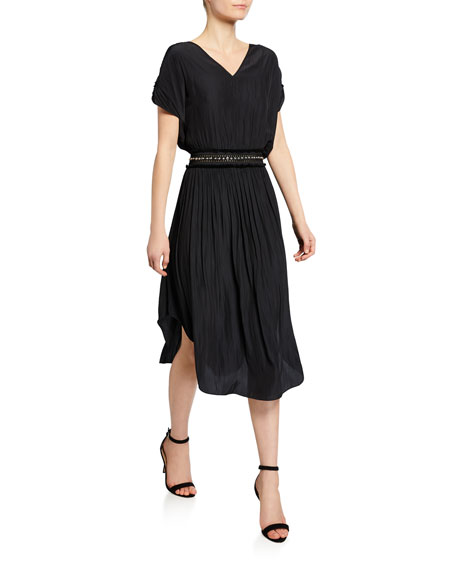 Ramy Brook Phoebe Short-Sleeve Beaded-Waist Maxi Dress