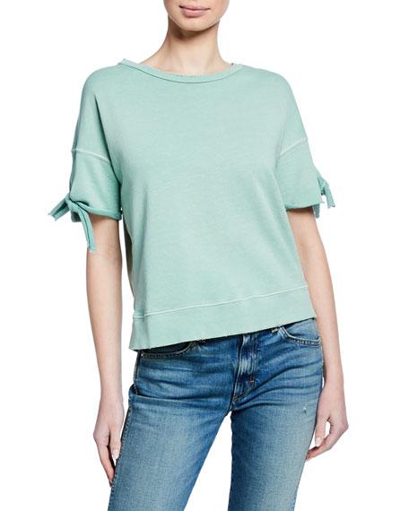 AMO Denim Short-Sleeve Tie-Cuff Sweatshirt