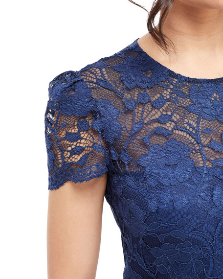 Gal Meets Glam Collection Short-Sleeve Floral Lace Midi Sheath Dress