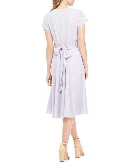 Gal Meets Glam Collection V-Neck Short-Sleeve A-Line Dress w/ Wrap-Over Bodice