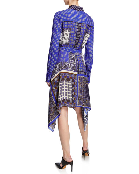 Elie Tahari Roxanne Mixed-Print Button-Front Long-Sleeve Dress