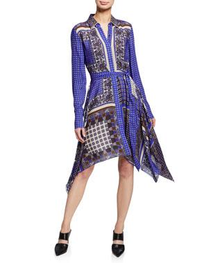 1669f7f9bca9 Elie Tahari Roxanne Mixed-Print Button-Front Long-Sleeve Dress