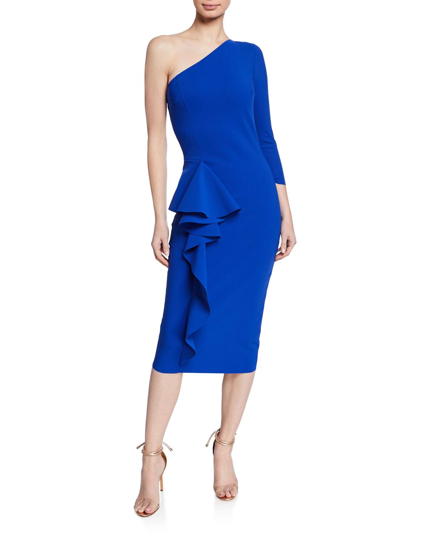 One Shoulder Asymmetric Ruffle Cocktail Dress by Chiara Boni La Petite Robe