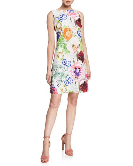 Chiara Boni La Petite Robe Abstract Floral-Print High-Neck Sleeveless A-Line Dress