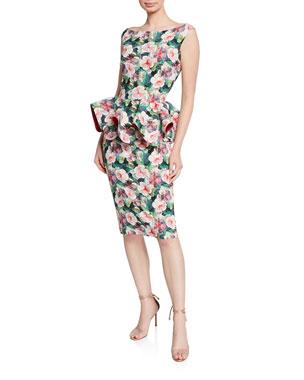 71e4fcf3 Chiara Boni La Petite Robe Floral-Print Bateau-Neck Sleeveless Peplum Dress