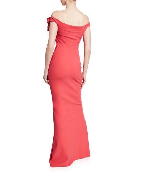 Chiara Boni La Petite Robe Off-the-Shoulder Short-Sleeve Column Gown w/ Asymmetric Knot Detail